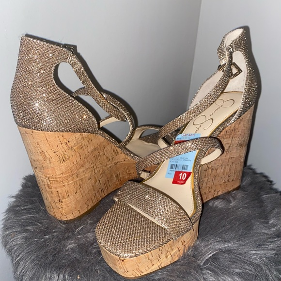 Jessica Simpson Glitter Wedges Size 10